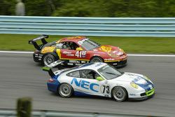 #73 Tafel Racing Porsche GT3 Cup out brakes #41 Team Sahlen Porsche GT3 Cup into turn 7