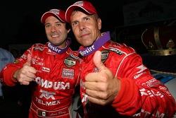 Race winner Luis Diaz and Scott Pruett celebrate