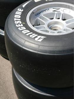 A slick Bridgestone GP2 tyre