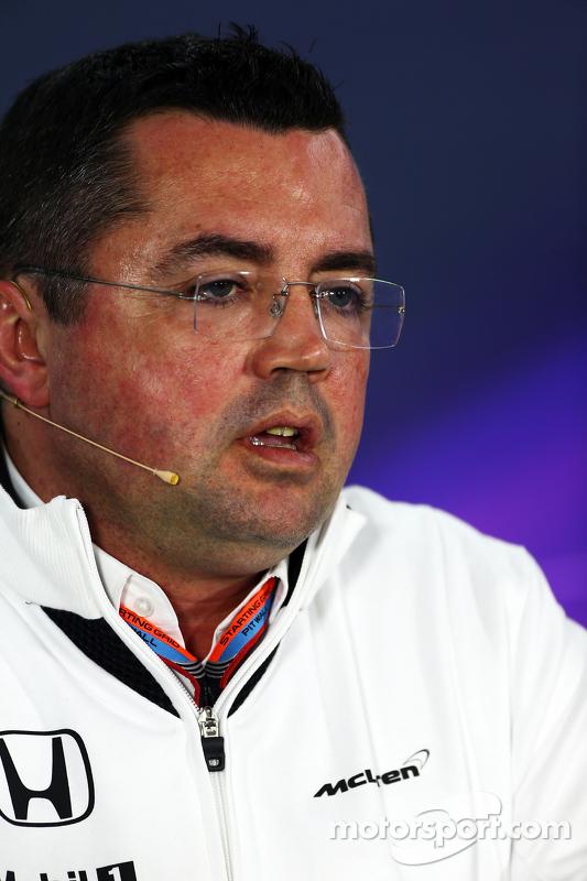 Eric Boullier, Rennleiter McLaren, in der FIA-Pressekonferenz