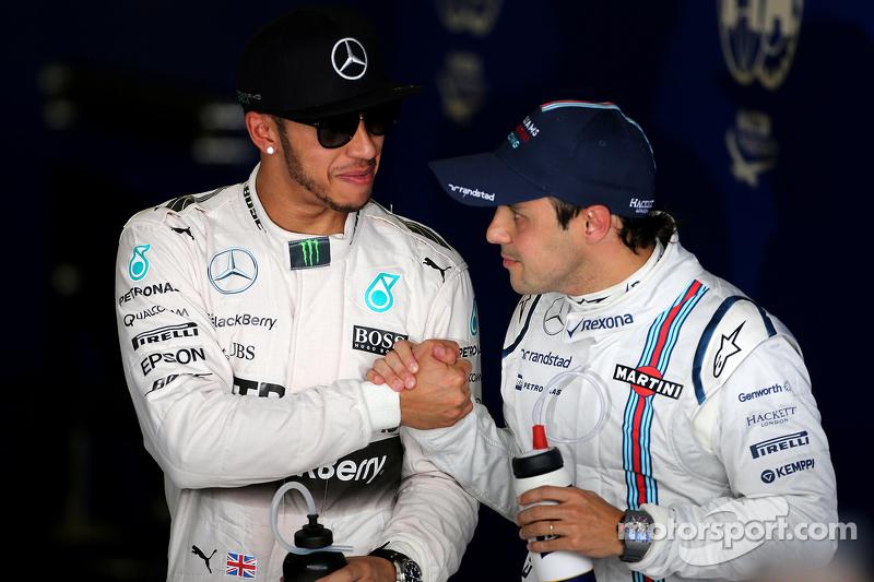Pole winner Lewis Hamilton, Mercedes AMG F1 Team and third place Felipe Massa, Williams F1 Team