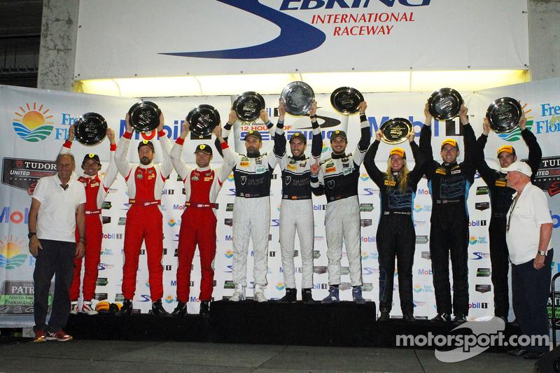 GTD class podium: winners Ian James, Mario Farnbacher, Alex Riberas, second place Bill Sweedler, Tow