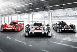De 2015-spec Porsche 919 Hybrid in drie kleuren voor Le Mans