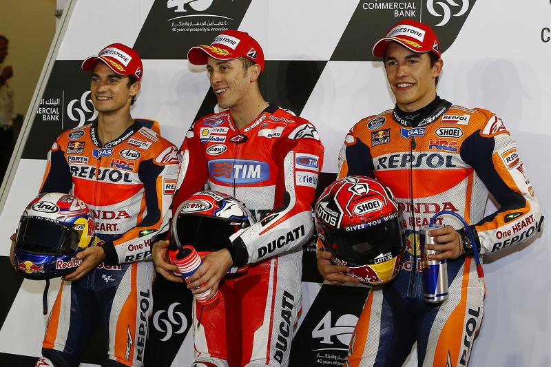 Dani Pedrosa, Repsol Honda Team dan danrea Dovizioso, Ducati Team dan Marc Marquez, Repsol Honda Team