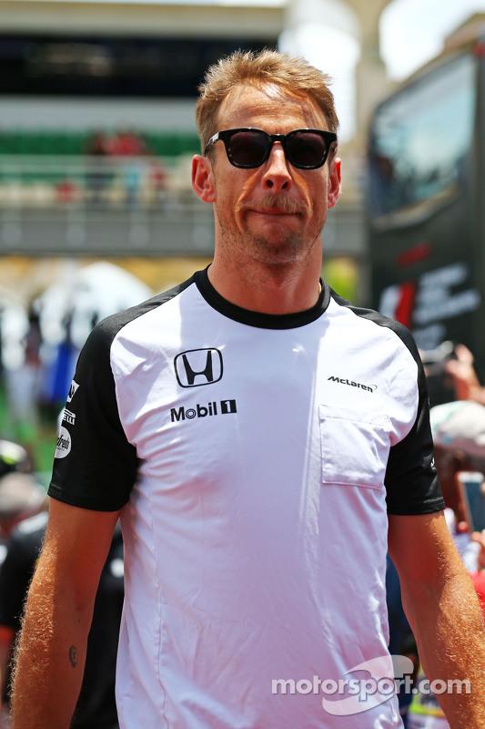 Jenson Button, de McLaren, en el desfile de pilotos
