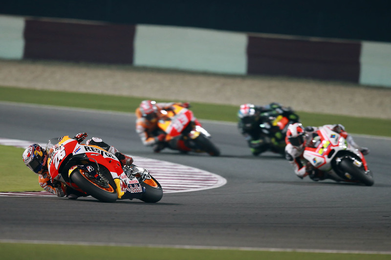 Dani Pedrosa, Repsol Honda Team; Yonny Hernandez, Pramac Racing; Bradley Smith, Monster Tech 3 Yamaha, und Marc Marquez, Repsol Honda Team