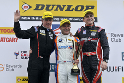 Podium: race winner Rob Collard, second place Aron Smith, third place Jason Plato