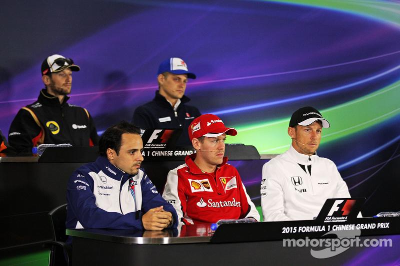 Felipe Massa, Williams; Sebastian Vettel, Ferrari; and Jenson Button, McLaren in the FIA Press Confe