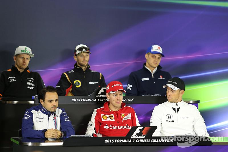 Felipe Massa, Williams F1 Team, Sebastian Vettel, Scuderia Ferrari and Jenson Button, McLaren Honda