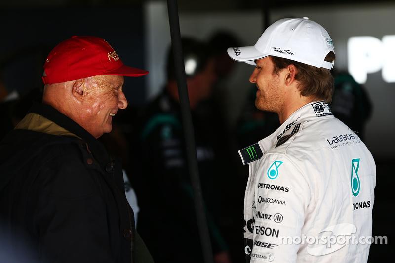 Niki Lauda, Aufsichtsratsvorsitzender Mercedes AMG F1, mit Nico Rosberg, Mercedes AMG F1