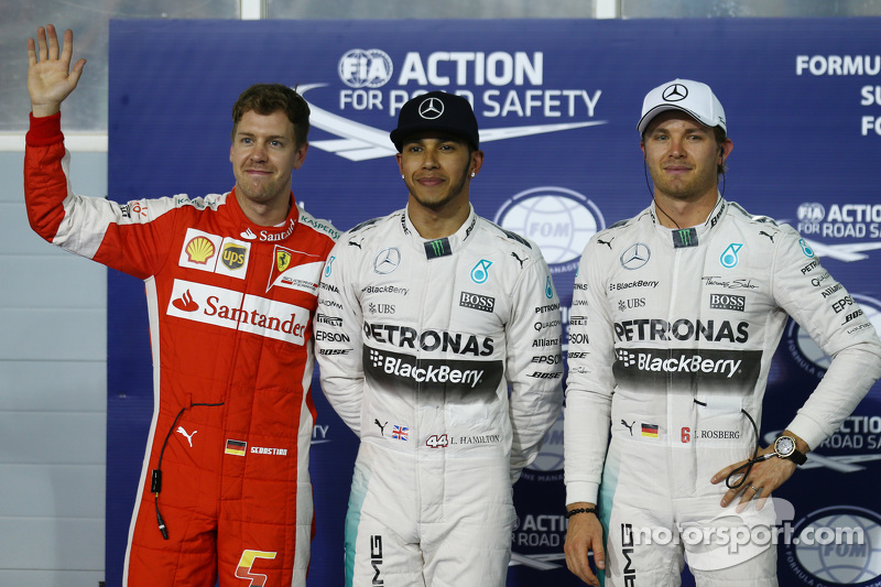 Pole for Lewis Hamilton, Mercedes AMG F1, 2nd for Sebastian Vettel, Ferrari SF15-T and 3rd for Nico