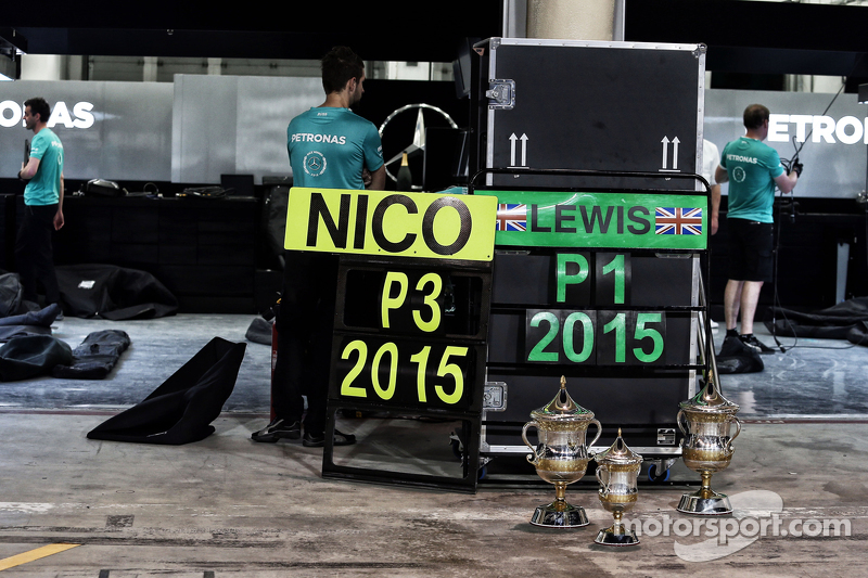 P1, dan P3 trophies for the Mercedes AMG F1 team