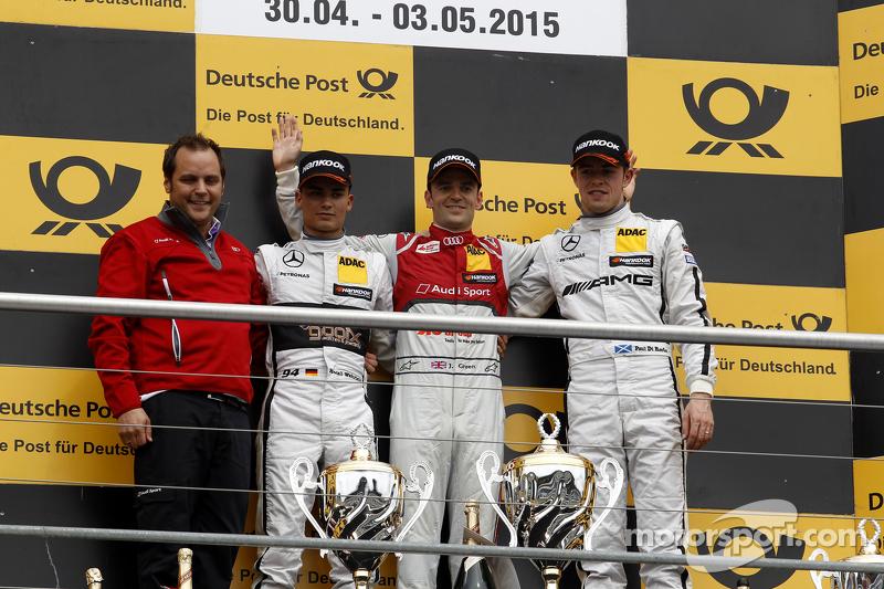 Podium: 2. Pascal Wehrlein, HWA AG, Mercedes-AMG C63 DTM; 1. Jamie Green, Audi Sport Team Rosberg, Audi RS 5 DTM, und 3. Paul di Resta, HWA AG, Mercedes-AMG C63 DTM
