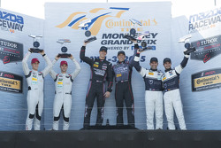 GTD Podium: Winners #73 Park Place Motorsports Porsche 911 GT America: Patrick Lindsey, Spencer Pumpelly, second place 4#48 Paul Miller Racing Audi R8 LMS: Christopher Haase, Dion von Moltked third placed #23 Alex Job Racing Porsche 911 GT America: Ian Ja