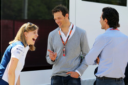 (L to R): Susie Wolff, Williams Development Driver with Alexander Wurz, Williams Driver Mentor and Pedro de la Rosa, Ferrari Development Driver