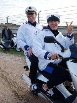 Tom Kristensen at the back of the roller of Mattias Ekström