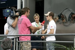 Christian Klien gives an interview to Ernst Hausleitner and press officer Britta Roeske