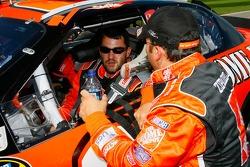 Crew chief Greg Zipadelli, talks with his driver Tony Stewart