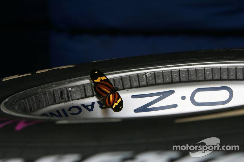 Un papillon sur un volant de course O.Z de Williams F1 Team