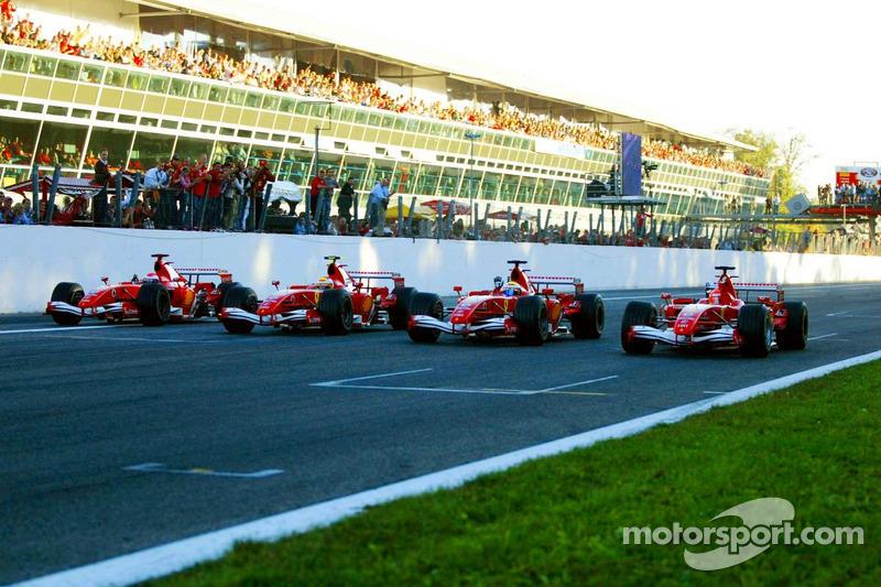 Marc Gene, Luca Badoer, Felipe Massa et Michael Schumacher