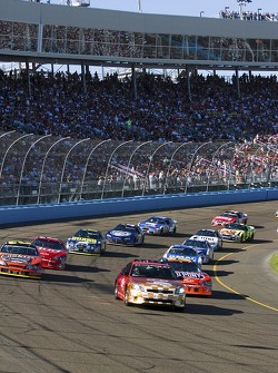 Pace laps: Jeff Gordon and Kevin Harvick lead the field behind the pace car