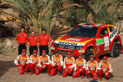 Team Repsol Mitsubishi Ralliart presentation in Morocco: Nani Roma and Lucas Cruz Senra, Luc Alphand and Gilles Picard, Stéphane Peterhansel and Jean-Paul Cottret, Hiroshi Masuoka and Pascal Maimon