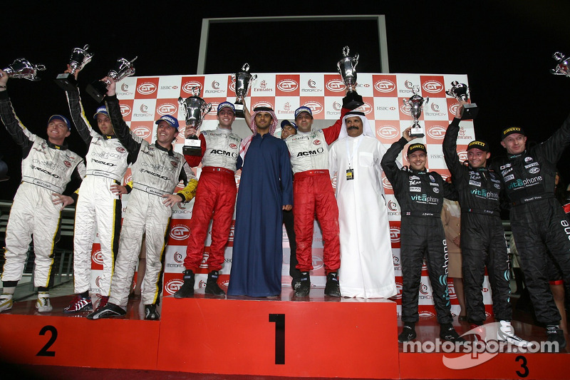 GT1 podium: overall and class winners Jean-Denis Deletraz and Andrea Piccini, with second place Bert Longin, Anthony Kumpen and Mike Hezemans, and third place Jamie Davies, Thomas Biagi and Vincent Vosse