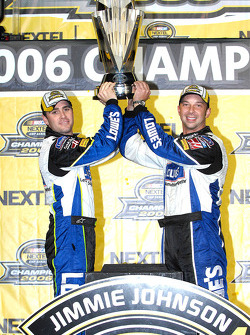 Championship victory lane: 2006 NASCAR Nextel Cup champion Jimmie Johnson celebrates with Chad Knaus