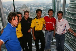 Petronas Twin Towers sky bridge: Enrico Toccacelo, Alex Yoong, Christian Murchison, Fairuz Fauzy, Moreno Soeprapto and Nicolas Lapierre