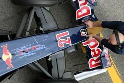 The nose of Scott Speed with a Bridgestone logo