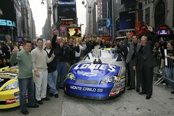 The No. 48 Lowe's Chevrolet team poses for a photo in Times Square