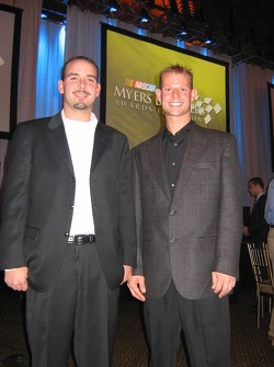 NASCAR Modified competitors Jason and Burt Myers, third generation members of the Myers family, represented their family at the NASCAR/NMPA Myers Brothers Awards Luncheon in New York