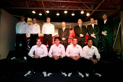 Adrian Valles, Fairuz Fauzy, Christijan Albers, Adrian Sutil, Giedo van der Garde and Marcus Winkelhock with James Key, Mike Gascoyne, Colin Kolles, Michiel Mol and Victor Muller