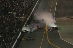 Last lap crash: Denny Hamlin hits the wall, Dale Earnhardt Jr., Elliott Sadler and Greg Biffle collide