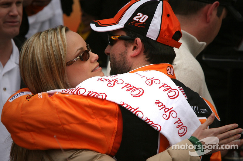 Victory Lane Race Winner Tony Stewart Celebrates With Girlfriend At