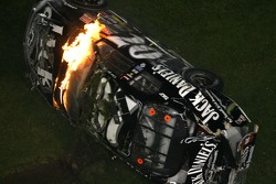 Last lap crash: Clint Bowyer flips over and catches fire