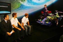 Yashurio Wada, Honda Racing Development Ltd, President, Jenson Button, Rubens Barrichello and Nick Fry, Honda Racing F1 Team, Chief Executive Officer