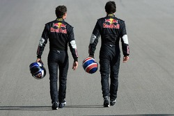 Red Bull Racing and Scuderia Toro Rosso photoshoot: David Coulthard and Mark Webber