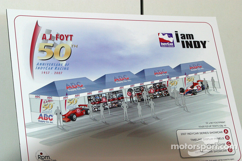 conception drawing of the 50th anniversary in indy car racing