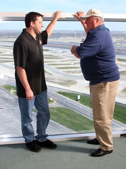 Tony Stewart and A.J. Foyt Jr. oversee the infield of Texas Motor Speedway