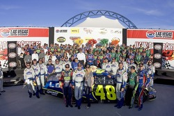 Victory lane: race winner Jimmie Johnson celebrates with Hendrick Motorsports teammate Casey Mears, Jeff Gordon and Kyle Busch, and Hendrick Motorsports team members