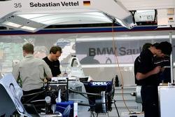 Sebastian Vettel, Test Driver, BMW Sauber F1 Team, Pit Garage
