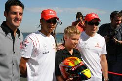 Lewis Hamilton, McLaren Mercedes and Fernando Alonso, McLaren Mercedes meet Chris Hays, Young racing hopeful - Vodafone and McLaren Mercedes event