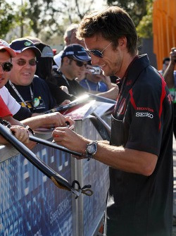 Jenson Button, Honda Racing F1 Team, signs autographs