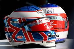 Helmets of Jenson Button, Honda Racing F1 Team and Rubens Barrichello, Honda Racing F1 Team