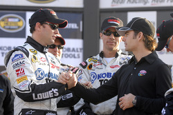 Victory lane: race winner Jimmie Johnson congratulated by Jeff Gordon