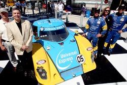 Race winners Bill Auberlen and Matthew Alhadeff pose with the winning car