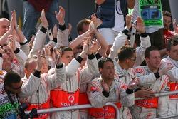 The McLaren team celebrate