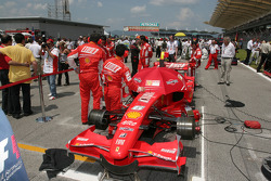 Ferrari on the starting grid