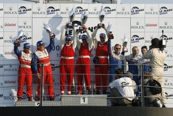 LMP2 podium: class winners Fredy Lienhard, Didier Theys and Eric van de Poele, with second place Thomas Erdos and Mike Newton, and third place William Binnie, Allen Timpany and Chris Buncombe